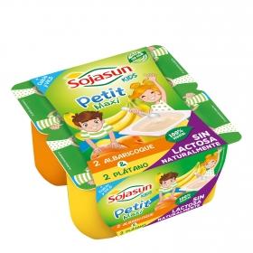 Petit maxi de soja con albaricoque y con plátano Sojasun sin lactosa pack de 4 unidades de 100 g.