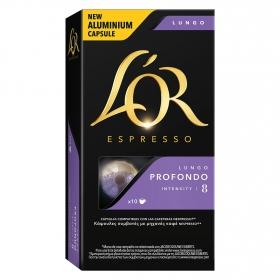 Café lungo profundo en cápsulas L'Or Espresso compatible con Nespresso 10 unidades de 5,2 g.