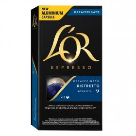 Café ristretto descafeinado en cápsulas L'Or Espresso compatible con Nespresso 10 unidades de 5,2 g.