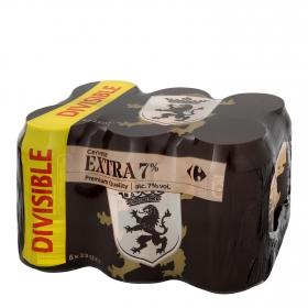 Cerveza Carrefour extra 7% pack de 6 latas de 33 cl.