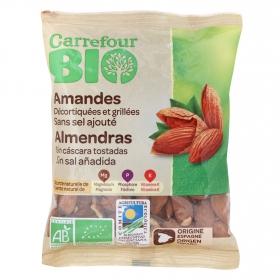 Almendras tostadas sin cáscara sin sal añadida ecológicas Carrefour Bio 90 g.