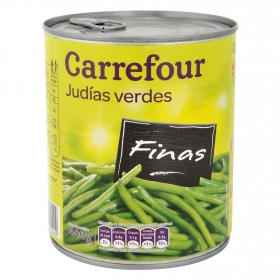 Judías verdes finas al natural extra Carrefour 440 g.