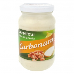 Salsa para pasta carbonara Carrefour tarro 260 g.