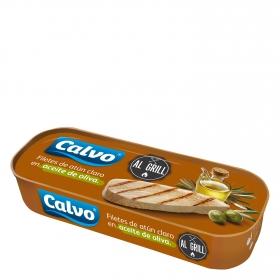 Filetes de atún claro en aceite de oliva al grill Calvo 65 g.