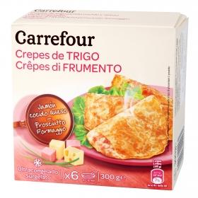 Crepes jamón y queso Carrefour pack de 6 unidades de 50 g.