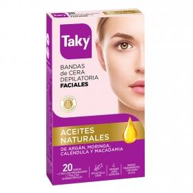 Bandas de cera depilatoria facial Taky 20 ud.
