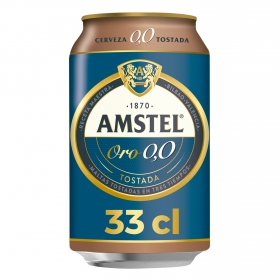 Cerveza Amstel Oro 0,0 tostada lata 33 cl.
