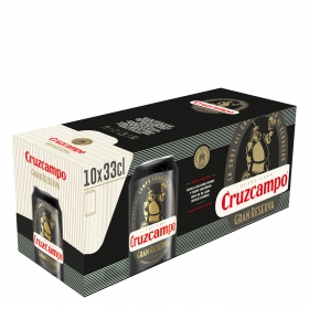Cerveza Cruzcampo gran reserva malta pack de 10 latas de 33 cl.
