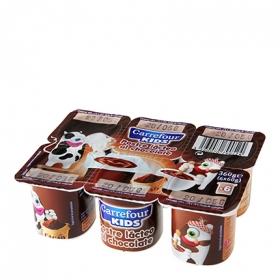 Postre lácteo de chocolate Carrefour Kids pack de 6 unidades de 20 g.