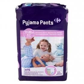 Ropa interior absorbente noche Pyjama Pants Carrefour 4-7 años (17kg-30 kg.) 15 ud.