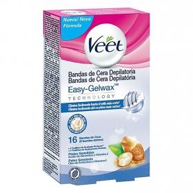 Bandas de cera depilatoria para pieles sensibles Easy-Gelwax Veet 8 bandas dobles