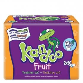Toallitas WC frutas tropicales Dodot Kandoo pack de 2 unidades de 50 ud.