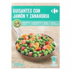 Guisantes con jamón y zanahoria Carrefour 300 g.
