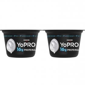 Yogur desnatado natural alto en proteínas Danone YoPRO pack de 2 unidades de 160 g.