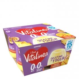 Gelatina de yogur desnatado sabor tropical pack de 4 unidades de 120 g.