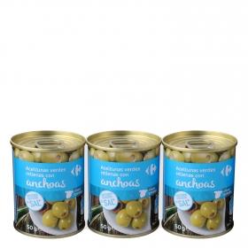 Aceitunas verdes rellenas de anchoa contenido reducido en sal Carrefour pack de 3 latas de 50 g.