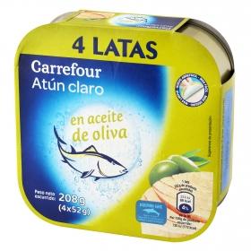 Atún claro en aceite de oliva Carrefour pack de 4 unidades de 52 g.