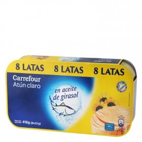 Atún claro en aceite de girasol Carrefour pack de 8 unidades de 52 g.