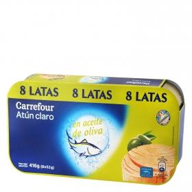 Atún claro en aceite de oliva Carrefour pack de 8 unidades de 52 g.