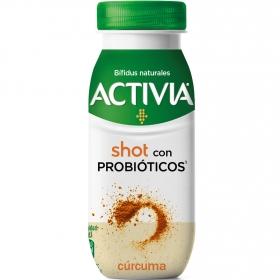 Yogur líquido shot semidesnatado con probióticos y cúrcuma Danone Activia 80 g.