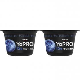 Yogur desnatado de arándanos alto en proteinas Danone YoPRO pack de 2 unidades de 160 g.