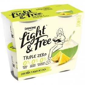 Yogur desnatado de piña y coco Danone Light&Free pack de 4 unidades de 115 g.