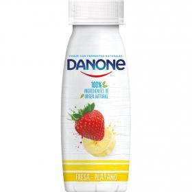 Yogur líquido de fresa y plátano Danone 245 g.
