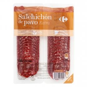 Salchichón de pavo extra Carrefour sin gluten pack de 2 unidades de 75 g.