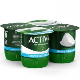 Yogur bífidus desnatado natural Danone Activia pack de 4 unidades de 125 g.
