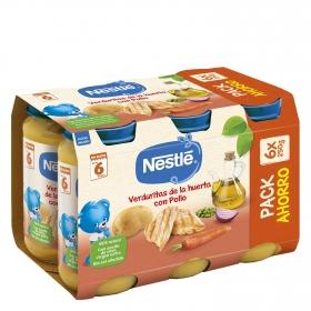 Tarrito de puré de verduras y pollo Nestlé pack de 6 unidades de 250 g.