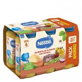 Tarrito de jardinera de ternera desde 6 meses sin sal añadida Nestlé sin gluten pack de 6 unidades de 250 g.