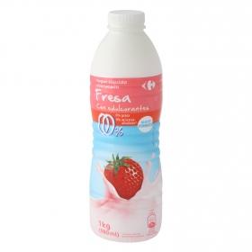 Yogur desnatado líquido de fresa sin azúcar añadido con edulcorante Carrefour 1 kg.
