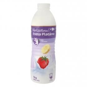 Yogur líquido fresa y plátano Carrefour sin Lactosa 1 l.