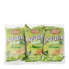 Patatas fritas sabor limón Gourmet Latino pack de 3 bolsas de 45 g.