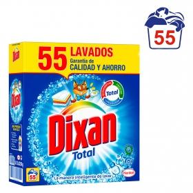 Detergente en polvo con quitamanchas Dixan 55 cacitos