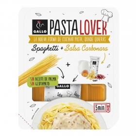 Spaghetti + salsa carbonara Pastalover Gallo 160 g.