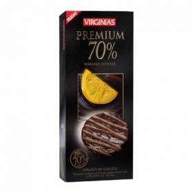 Galleta bañada de chocolate premium 70% y chocolate a la naranja
