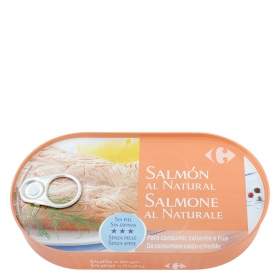 Filetes de salmón al natural Carrefour 125 g.