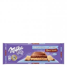 Tableta de chocolate y barquillo