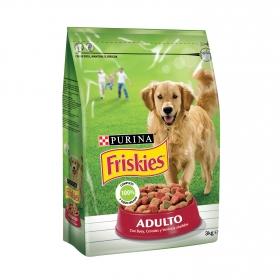Purina Friskies Pienso para Perro Adulto Buey, Cereales y Verduras 3Kg