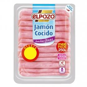 Jamón cocido lonchas finas El Pozo sin gluten y sin lactosa 250 g.