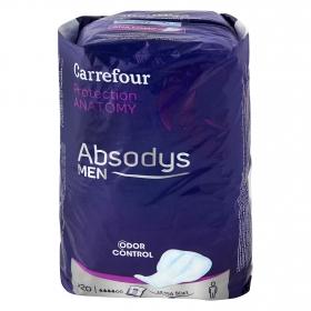 Compresas de incontinencia para hombre Absodys men Carrefour 20 ud.