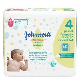Toallitas para bebé cottontouch Johnson's pack de 4 paquetes de 56 ud.