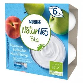 Postre lácteo de manzana y melocotón desde 6 meses sin azúcar añadido ecológico Nestlé Naturnes pack de 4 unidades de 90 g.