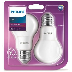 Pack de 2 Bombillas Estandar Led Philips 60W E27