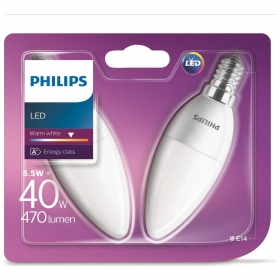 Pack de 2 Bombillas Vela Led Philips 40W  E14