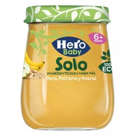 Tarrito de pera, plátano y avena desde 6 meses ecológico Hero Baby Solo 120 g.