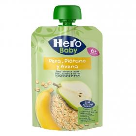 Preparado de pera, plátano y avena sin azúcar añadido desde 6 meses Hero Baby bolsita de 100 g.