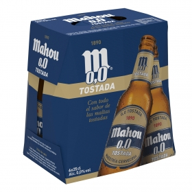 Cerveza Mahou 0,0 sin alcohol tostada pack de 6 botellas de 25 cl.