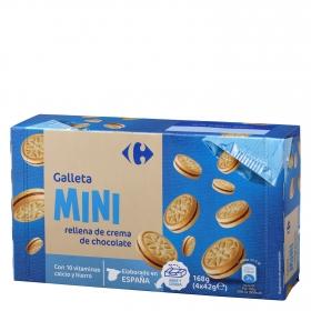 Galletas rellenas de crema de chocolate Mini Carrefour pack de 4 unidades de 42 g.
